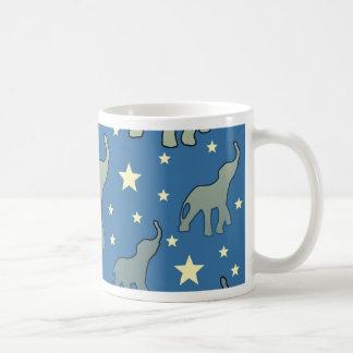 Blue Elephants Stars Pattern Coffee Mug