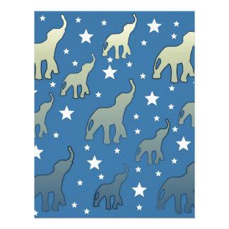 Blue Elephants Stars Pattern Custom Letterhead