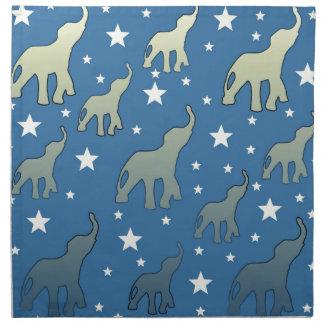 Blue Elephants Stars Pattern Napkin