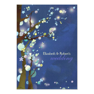 Blue Elven Forest Rustic Wedding Card
