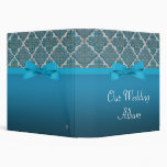 Blue Embossed Damask Wedding Shimmer Binders