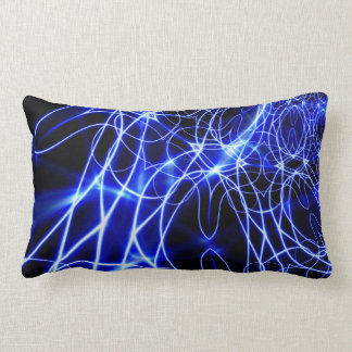 Blue Energy Lines, Fantasy Blue Flash Lumbar Pillow