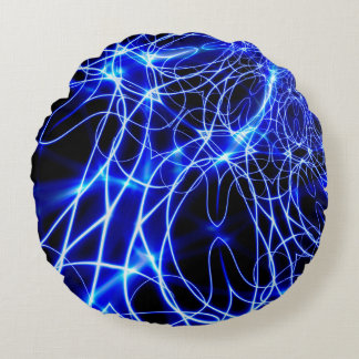 Blue Energy Lines, Fantasy Blue Flash Round Pillow
