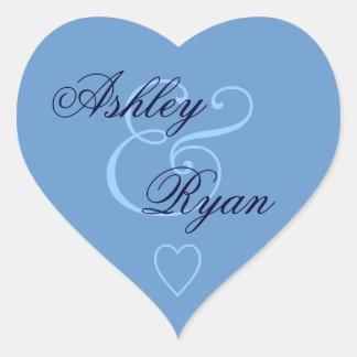 Blue Envelope Seal Wedding Heart Sticker