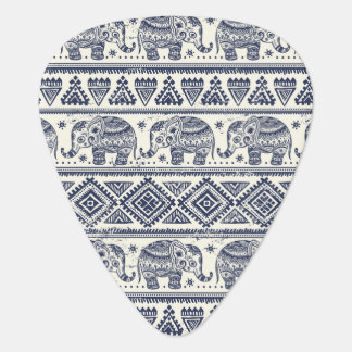 Blue Ethnic Elephant Pattern Guitar Pick