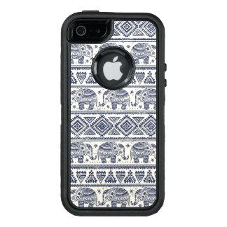 Blue Ethnic Elephant Pattern OtterBox Defender iPhone Case