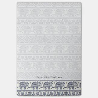 Blue Ethnic Elephant Pattern Post-it Notes