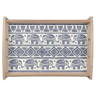 Blue Ethnic Elephant Pattern Serving Tray