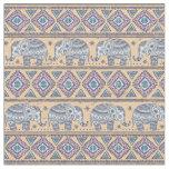 Blue Ethnic Elephant Tribal Pattern Fabric
