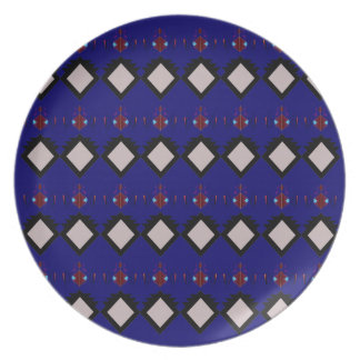 Blue ethno  folk elements plate