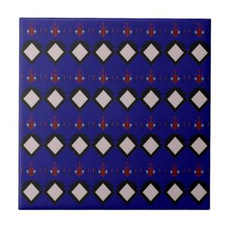 Blue ethno  folk elements tile