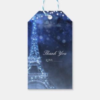 Blue Evening Enchanted Night in Paris Eiffel Tower Gift Tags