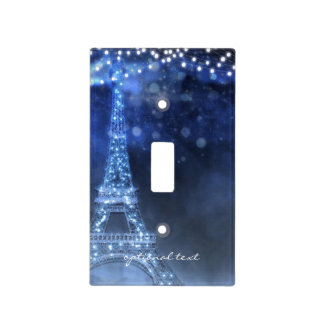 Blue Evening Enchanted Night in Paris Eiffel Tower Light Switch Cover