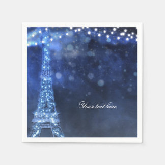 Blue Evening Enchanted Night in Paris Eiffel Tower Paper Napkin