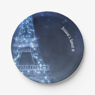 Blue Evening Enchanted Night in Paris Eiffel Tower Paper Plate