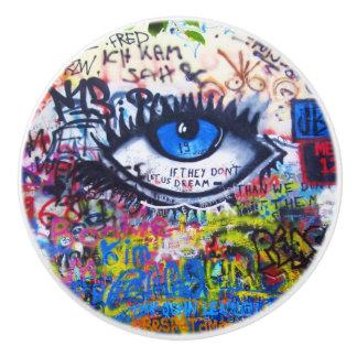 Blue evil eye modern graffiti ceramic knob