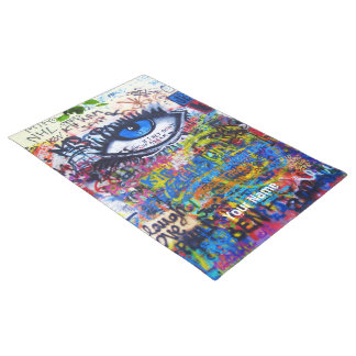 Blue evil eye modern graffiti doormat