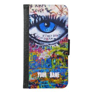 Blue evil eye modern graffiti samsung galaxy s6 wallet case