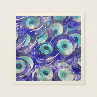 Blue Evil Eye souvenir sold in Istanbul Turkey Disposable Napkins