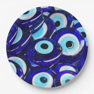 Blue Evil Eye souvenir sold in Istanbul Turkey Paper Plate