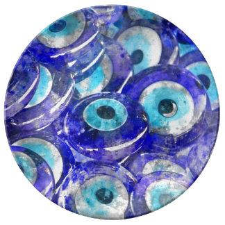 Blue Evil Eye souvenir sold in Istanbul Turkey Plate