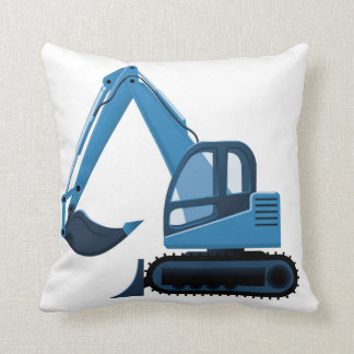 Blue Excavator Pillow
