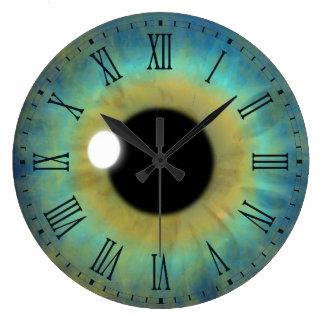 Blue Eye Iris Eyeball Large Round Roman Clock