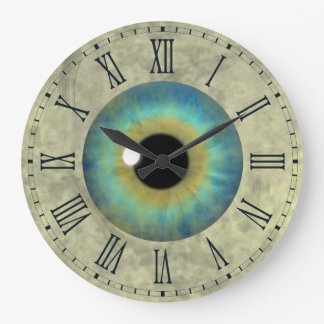 Blue Eye Iris Eyeball Roman Large Round Clock