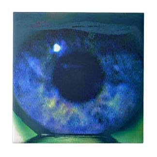 Blue Eye Looking Through A Fishbowl Ceramic Tile