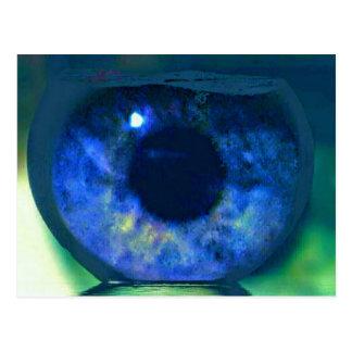 Blue Eye Looking Through A Fishbowl Postcard