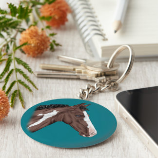 Blue Eyed Bay Paint Horse Foal Keychain