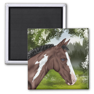 Blue Eyed Bay Paint Horse Foal Square Magnet
