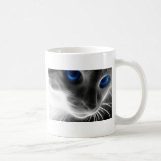 Blue Eyed Black and White Kitty Cat Coffee Mug