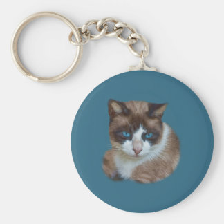 Blue Eyed Brown and White Cat Keychain