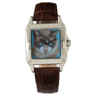 Blue Eyed Brown and White Haughty Cat Wrist Watch