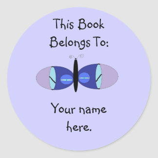 Blue Eyed Butterfly, Book Plates Classic Round Sticker