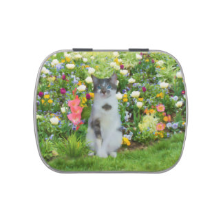 Blue Eyed Cat Among The Flowers