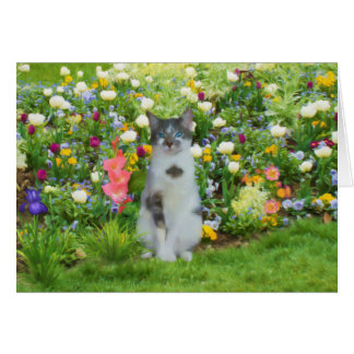 Blue Eyed Cat Among The Flowers Card