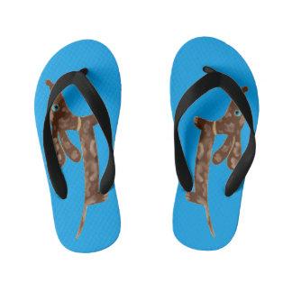 Blue Eyed Dachshund Custom Flip Flops, Kids Kid's Flip Flops