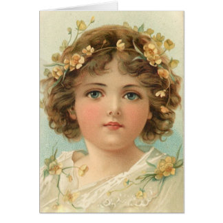 Blue-Eyed Girl with Curls, Card