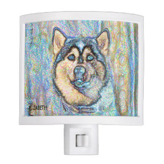 Blue Eyed Husky The Beautiful Dog Drawing Nite Light