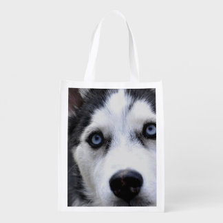 Blue Eyed Husky Grocery Bags