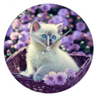 Blue Eyed Kitten Cat In Basket With Purple Flowers Large Clock