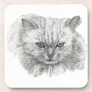 Blue Eyed Persian Cat Drink Coaster