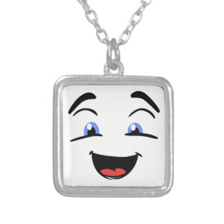 BLUE EYED SMILEY SILVER PLATED NECKLACE