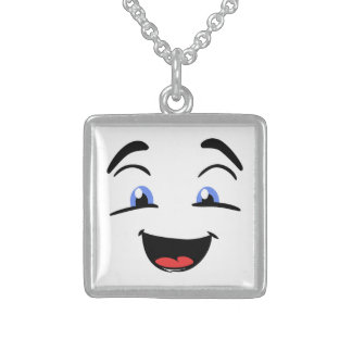 BLUE EYED SMILEY STERLING SILVER NECKLACE