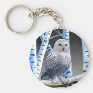 Blue-eyed Snow Owl Basic Round Button Keychain