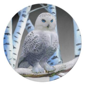 BLUE-EYED SNOW OWL PLATE
