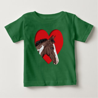 Blue Eyed Tobiano Paint Horse in Red Heart Baby T-Shirt
