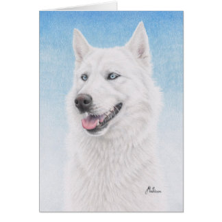 Blue Eyed White Siberian Husky Card